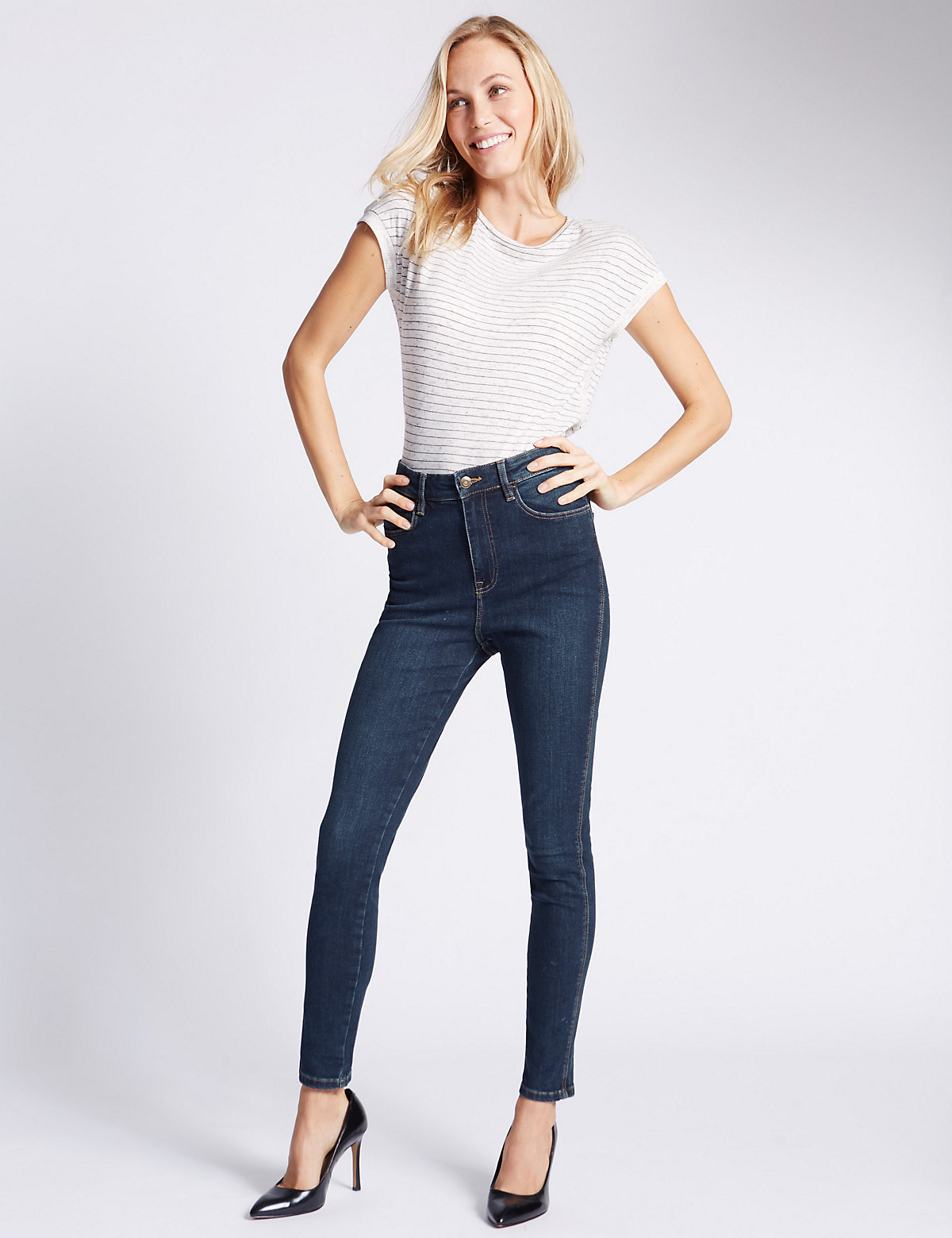 M&S Collection High Waisted Skinny Leg Jeans