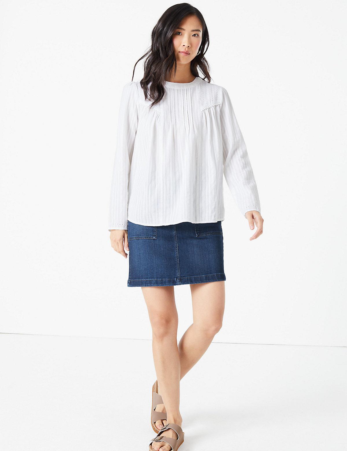 m&s collection denim utility mini a-line skirt