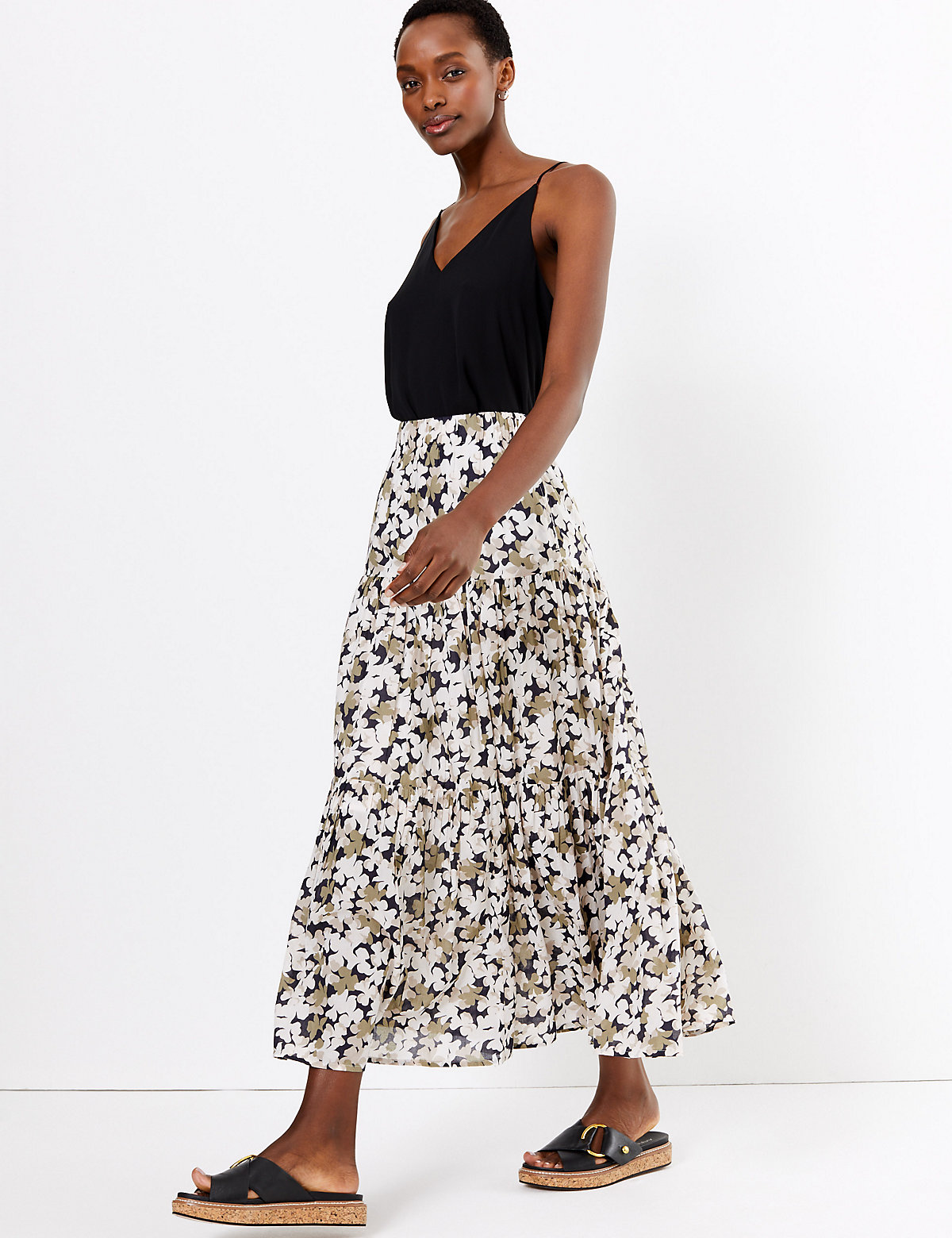 m&s collection pure cotton floral tiered maxi skirt