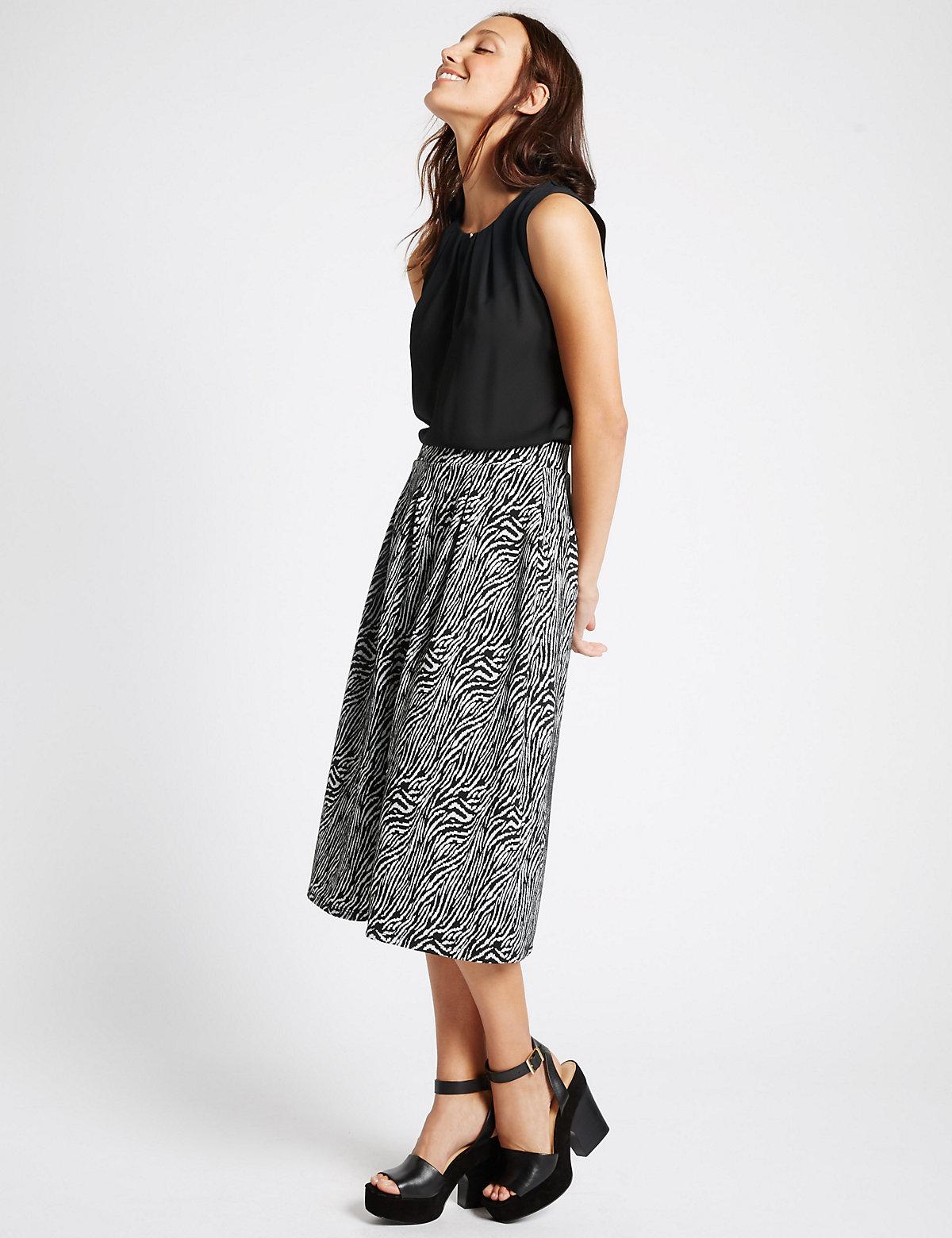 M&S Collection Zebra Print ALine Midi Skirt