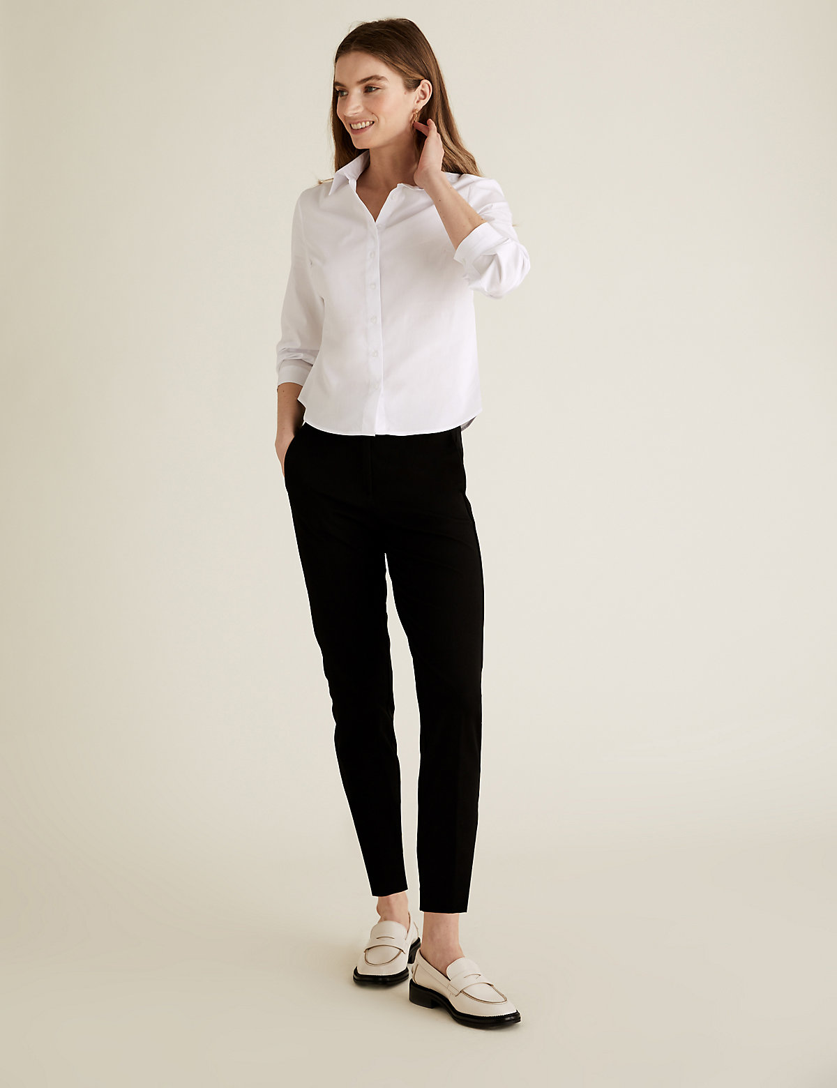 The Everywear Trouser PETITE Cotton Slim Leg Trousers