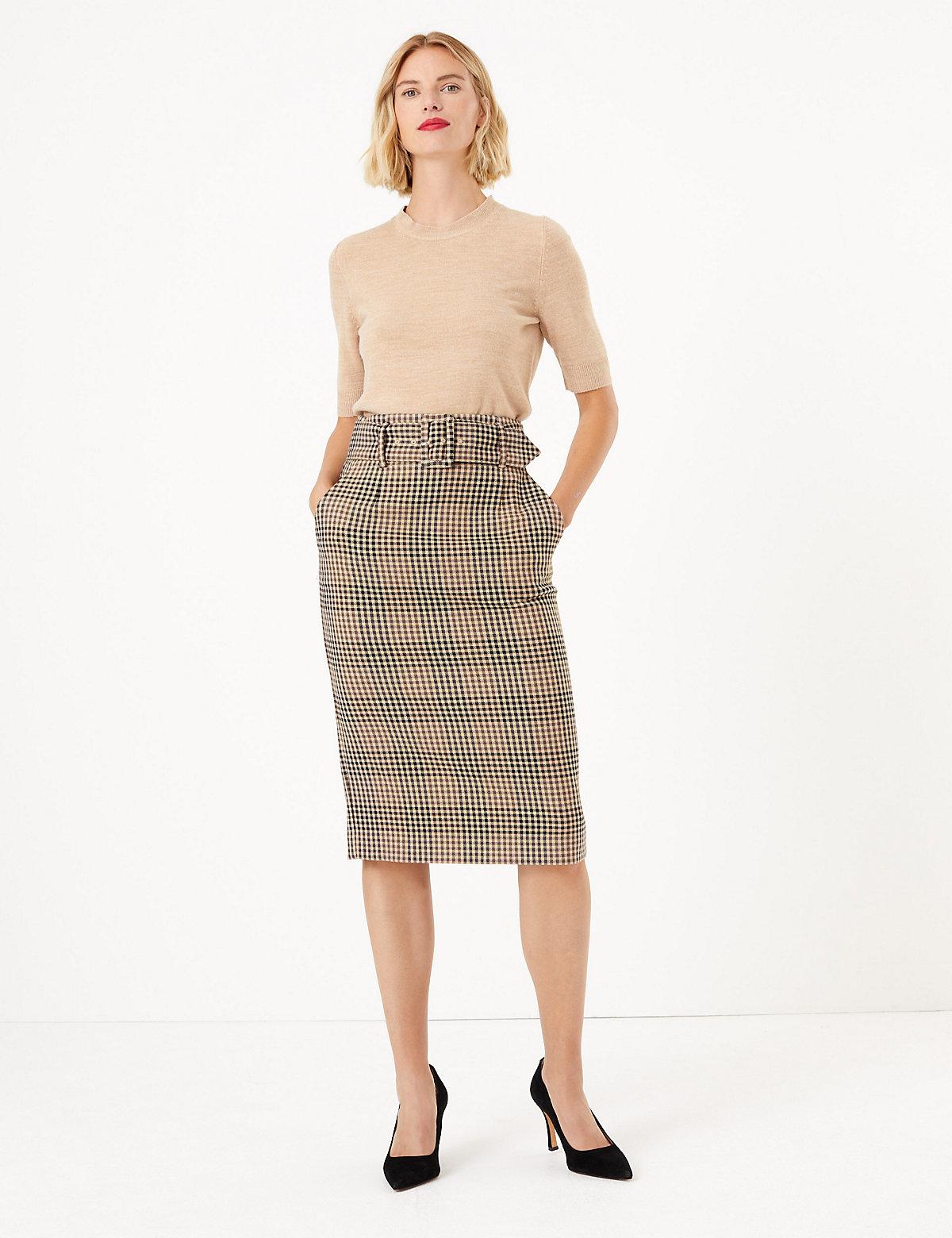 """M/&S Collection Size 16 Petite Pencil Suit Skirt Navy 23/""""L"""