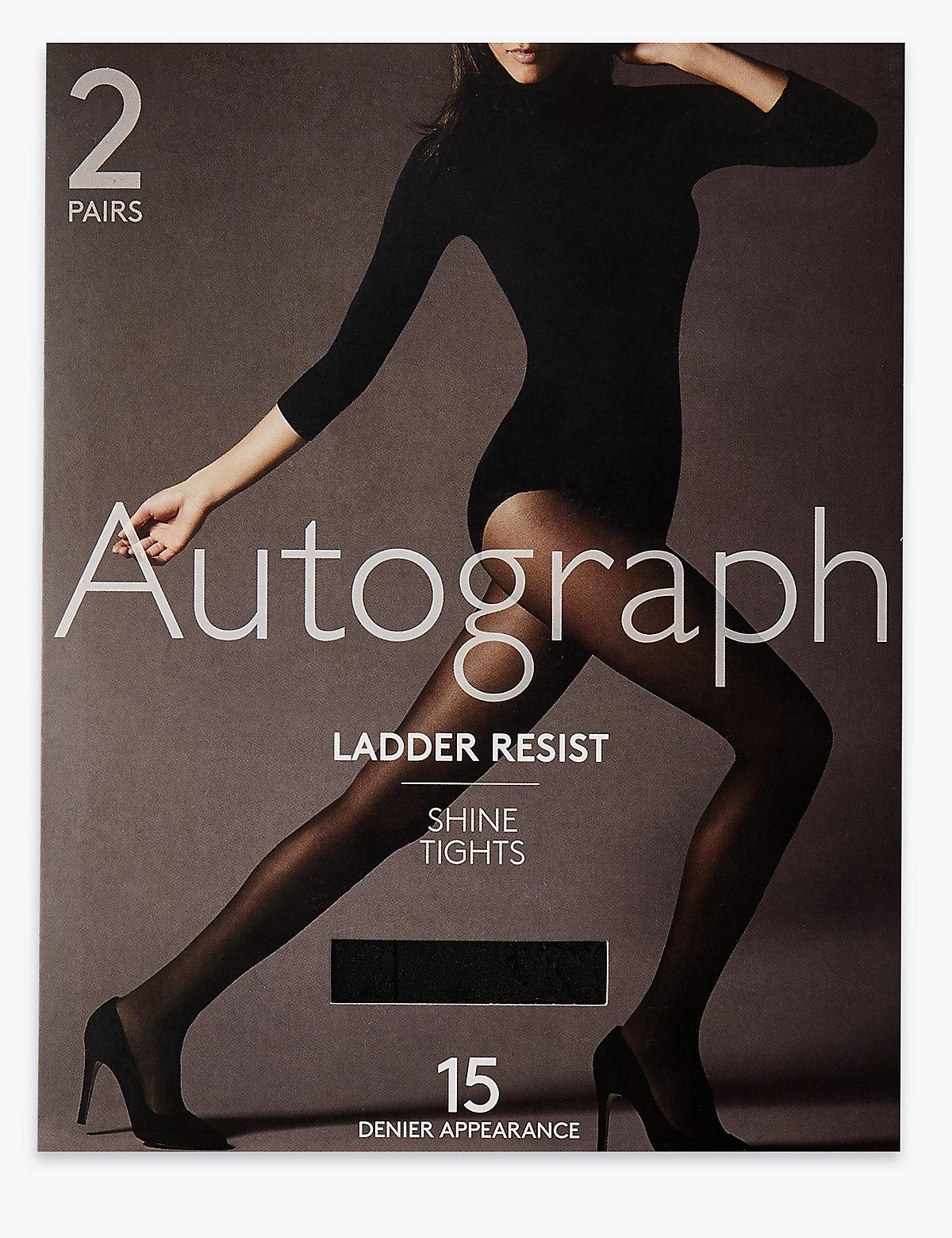 Autograph 2 Pack 15 Denier Ladder Resist Shine Tights