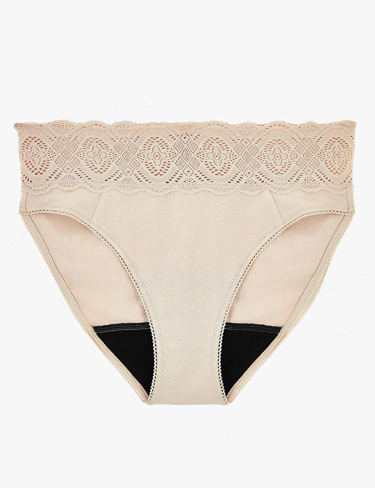 Confidence Anti-Leak Cotton & Lace High Leg Knickers