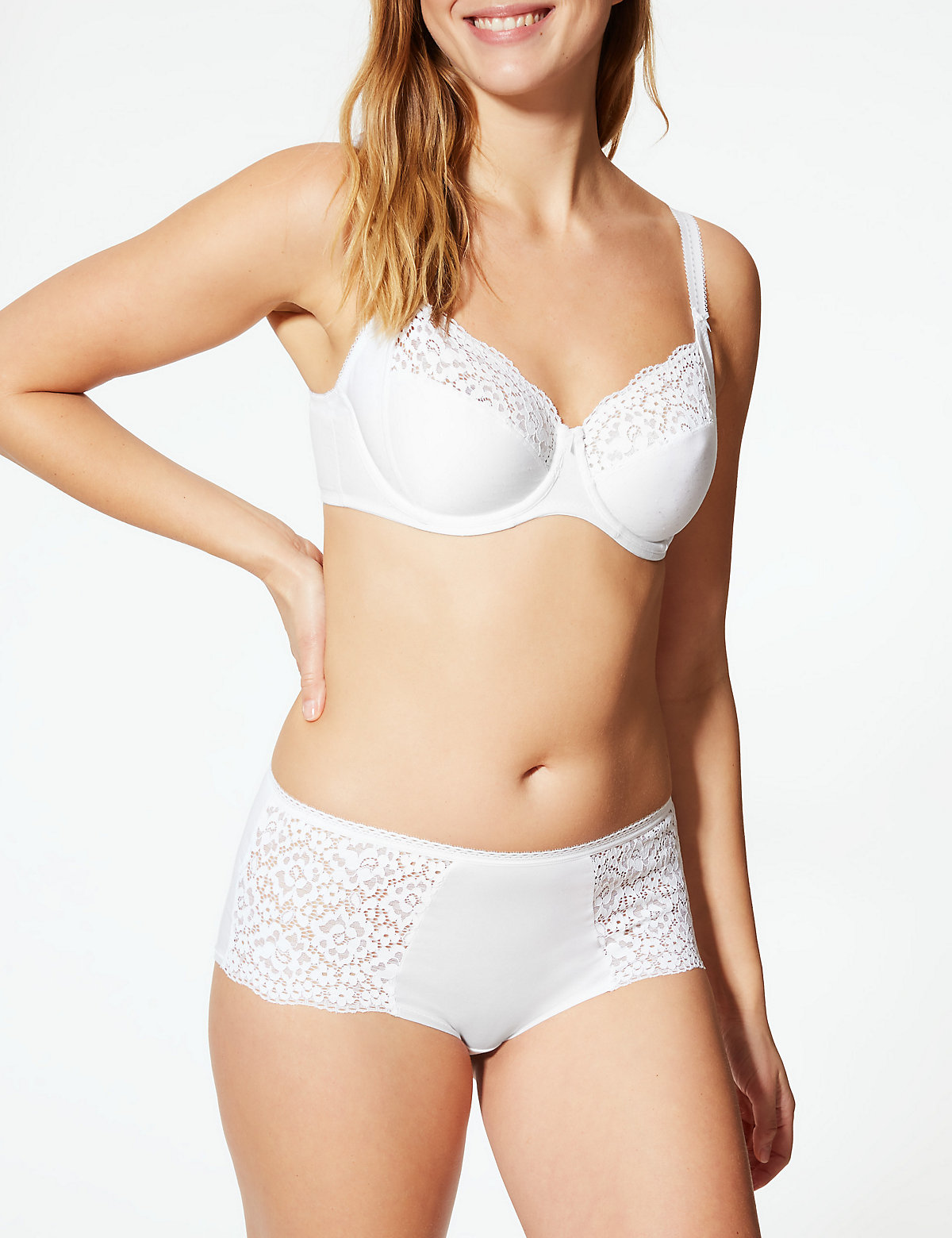 M/&S WHITE Cotton Rich Sports Waist Knickers Size 8 to 26