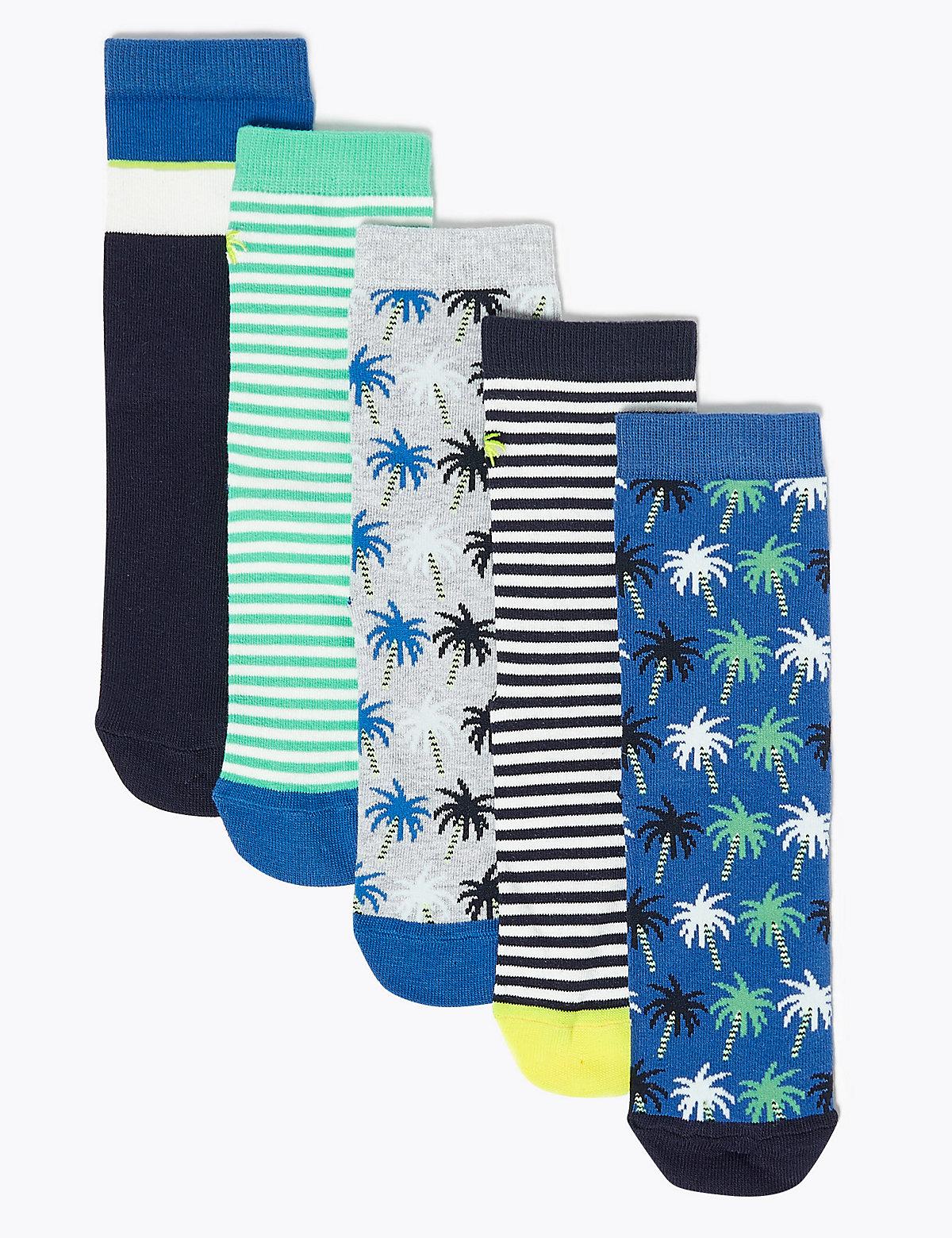 5 Pack Cotton Rich Palm Tree Socks