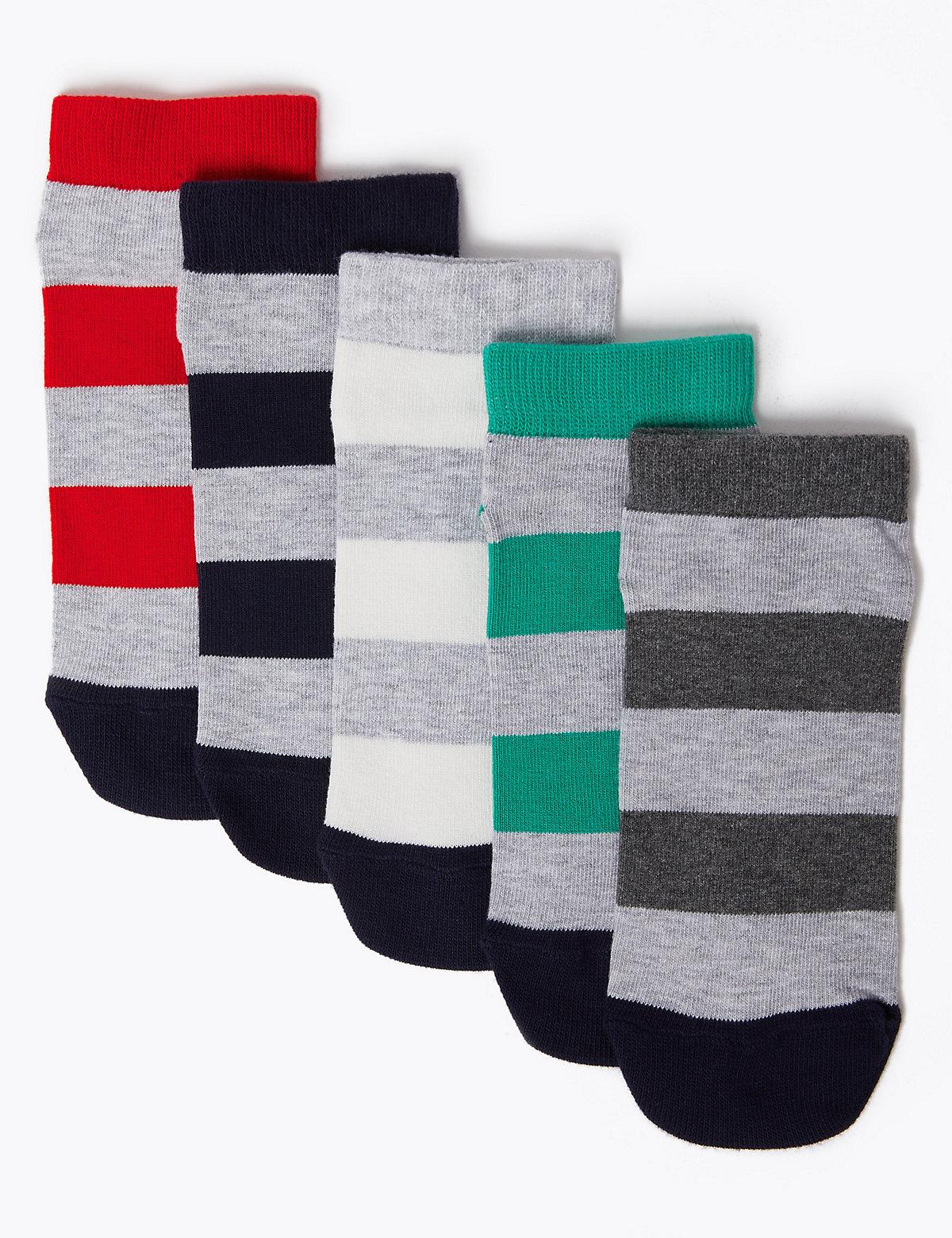 5 Pack Cotton with Lycra Trainer Liner Socks
