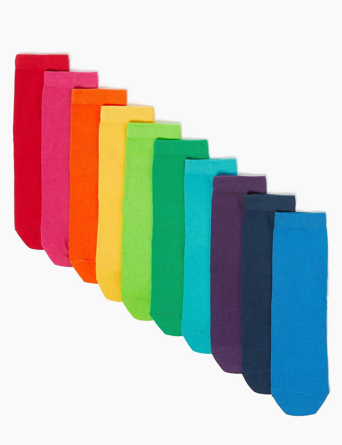 10 Pack Cotton Rich Rainbow Socks