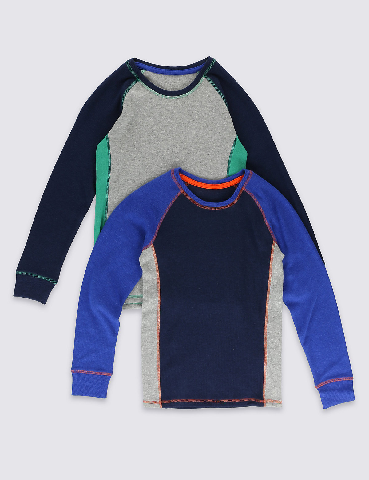 2 Pack Sporty Long Sleeve Thermal Tops (18 Months  16 Years)
