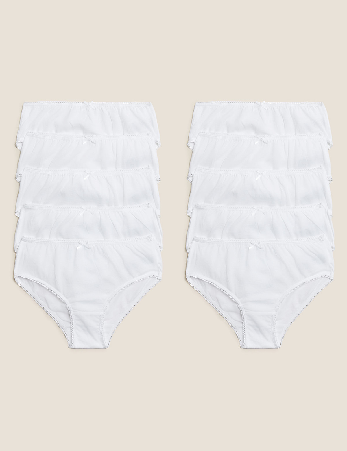 10 Pack Pure Cotton Knickers (2-16 Yrs)