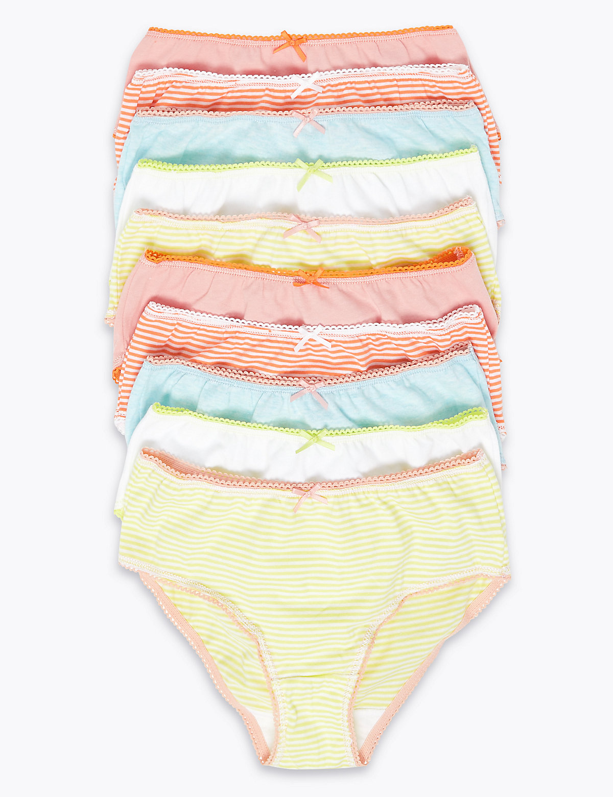 10 Pack Pure Cotton Striped Knickers (2-16 Yrs)