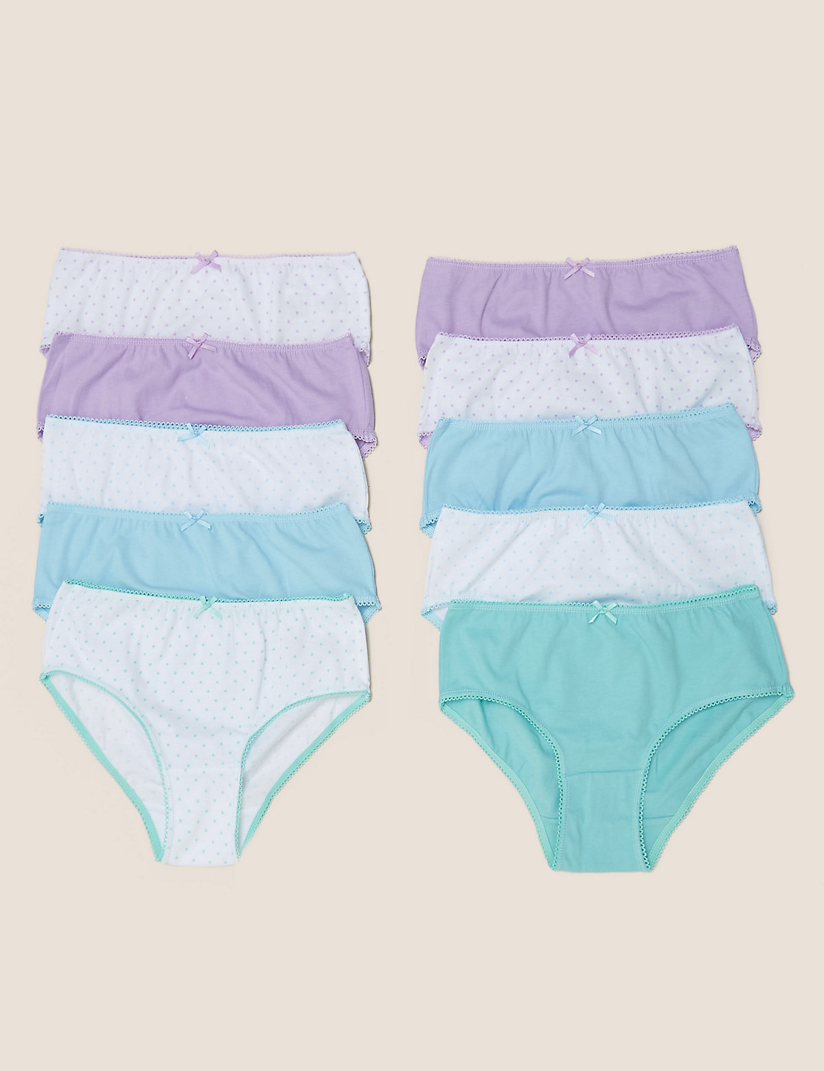 10pk Pure Cotton Knickers (2-16 Yrs)