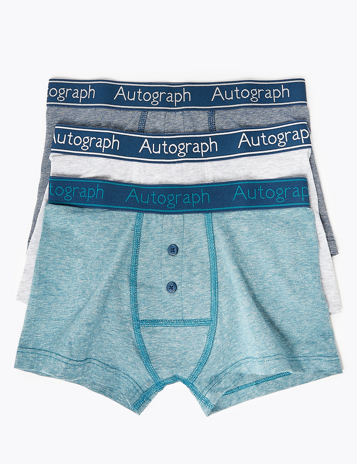 Autograph 3 Pack Cotton with Lycra Autograph Print Trunks (6-16 Years)