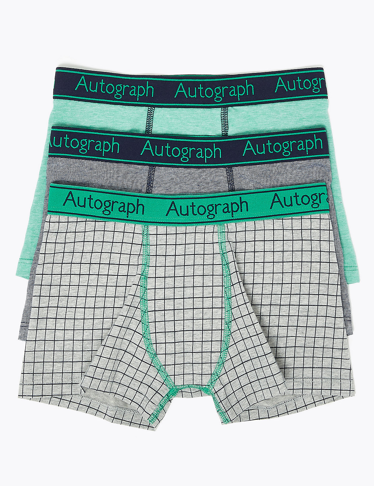 Autograph 3 Pack Cotton with Lycra Checked Trunks (6-16 Years)