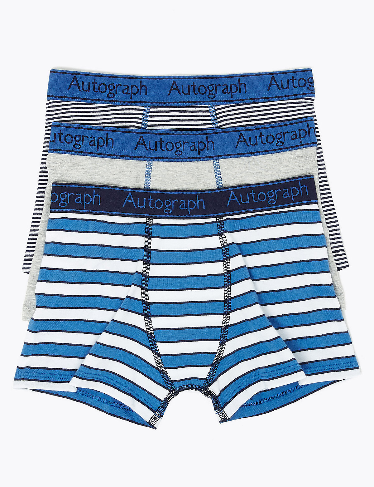 Autograph 3 Pack Cotton with Lycra Striped Trunks (6-16 Years)