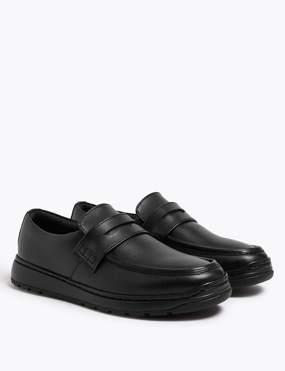 Light As Air Kids' Leather Slip On Loafers School shoes (13 Small - 9 Large)