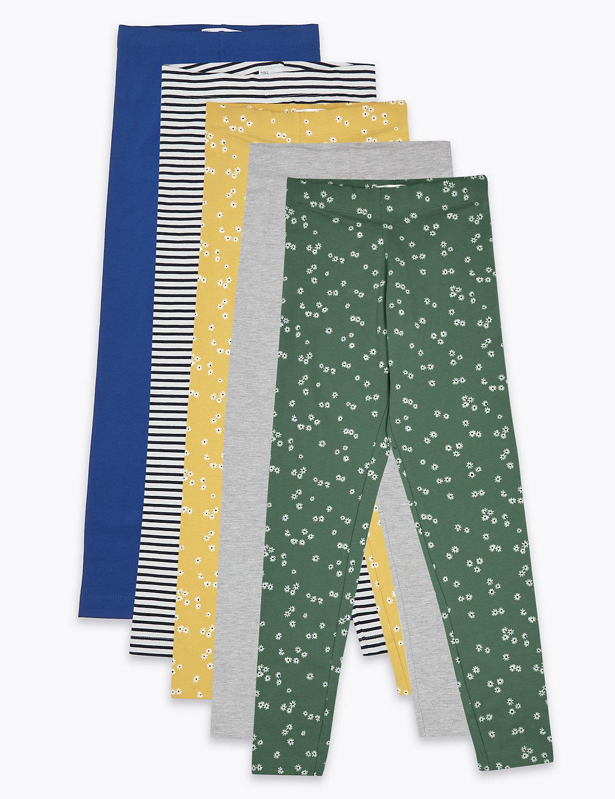 5 Pack Cotton Leggings (6-16 Yrs)