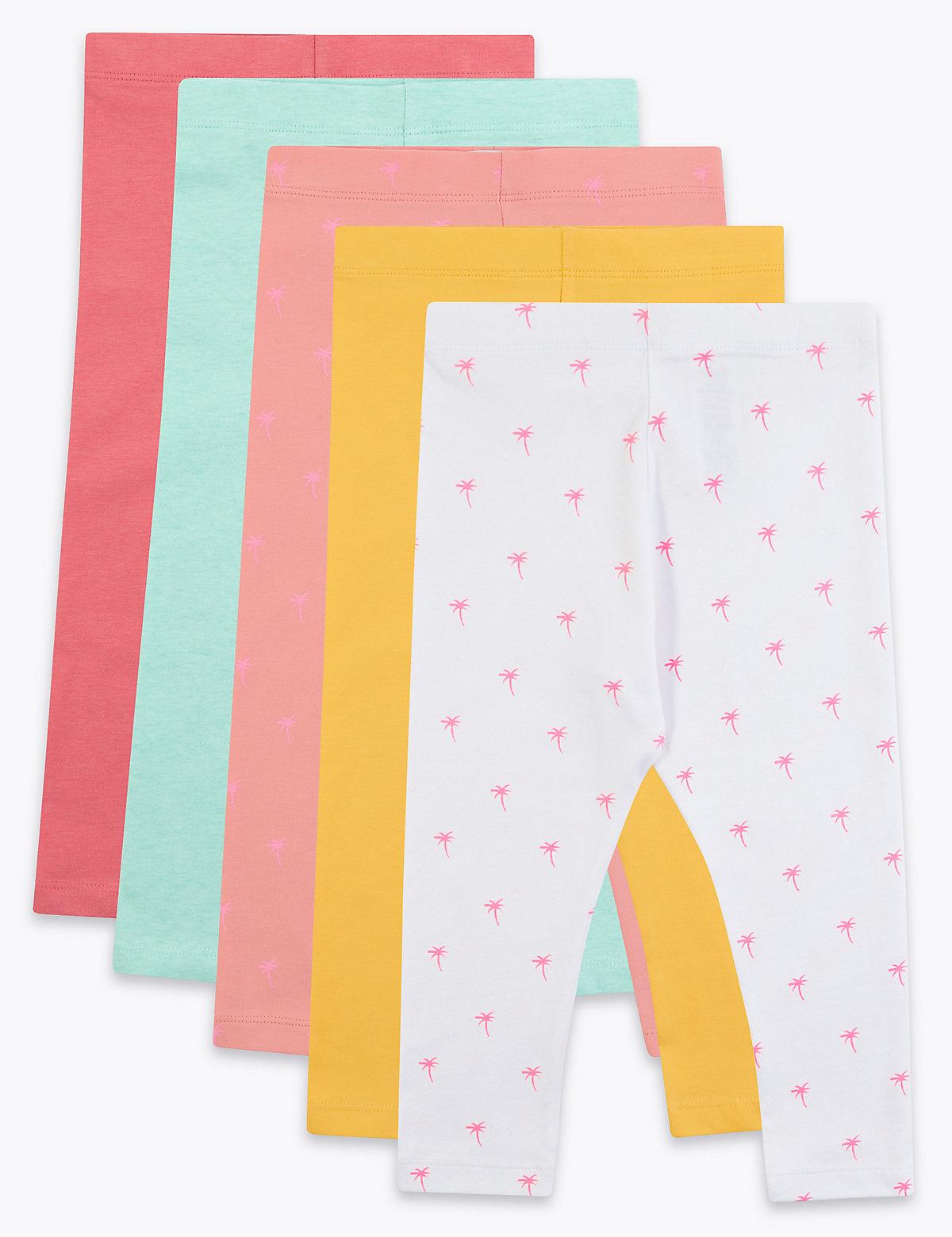 5 Pack Cotton Leggings (2-7 Yrs)