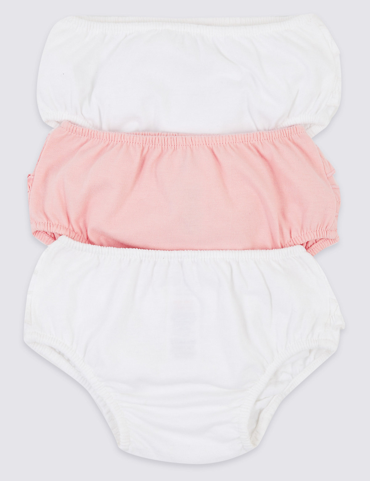 3 Pack Organic Cotton Frill Knickers (7lbs-3 Yrs)