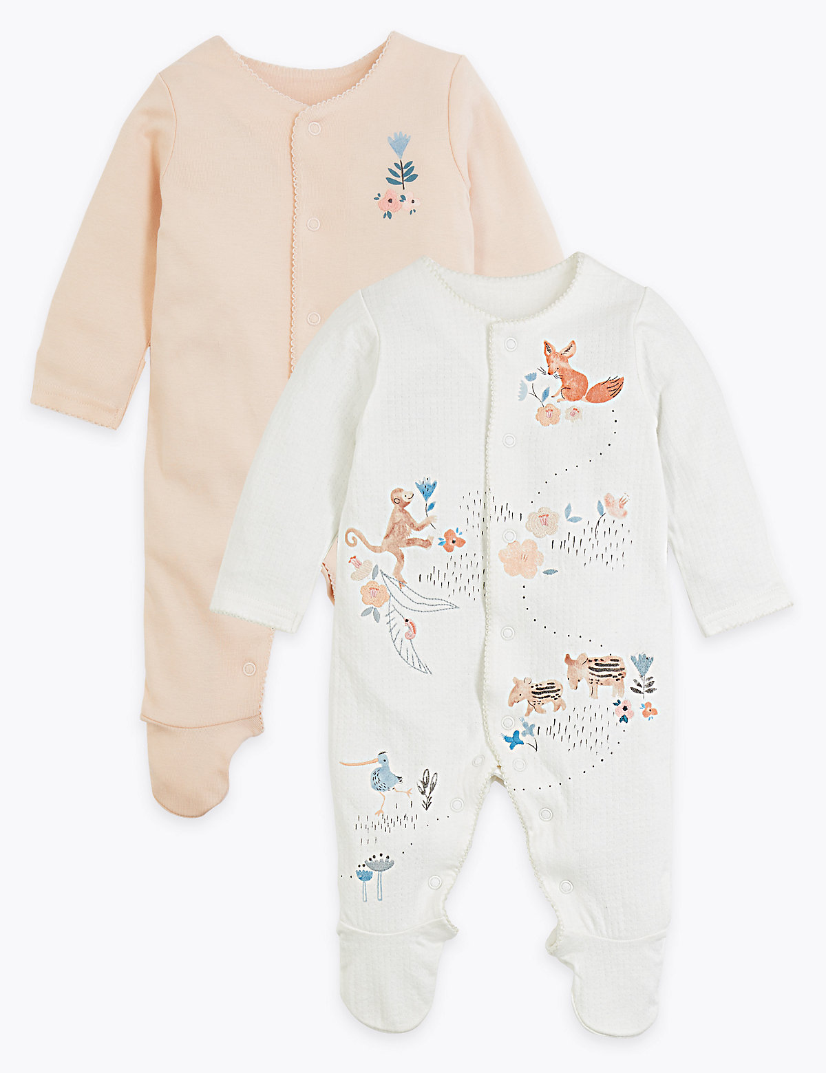 2 Pack Pure Cotton Floral Sleepsuits (7lbs-3 Yrs)