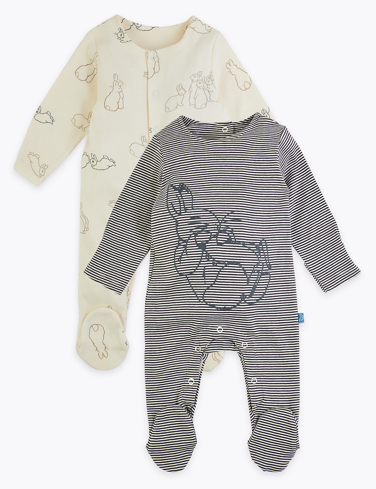 2 Pack Peter Rabbit Sleepsuits (7lbs-3 Yrs)