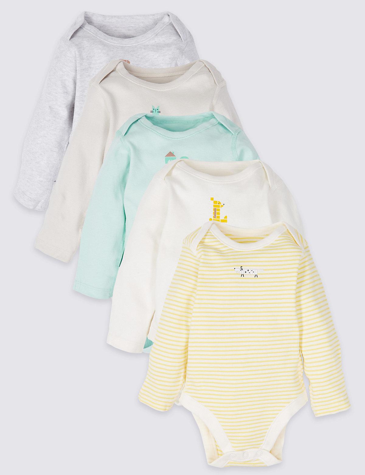 f066da9d5 5 Pack Pure Cotton Bodysuits - Marks   Spencer at Westquay - Shop Online