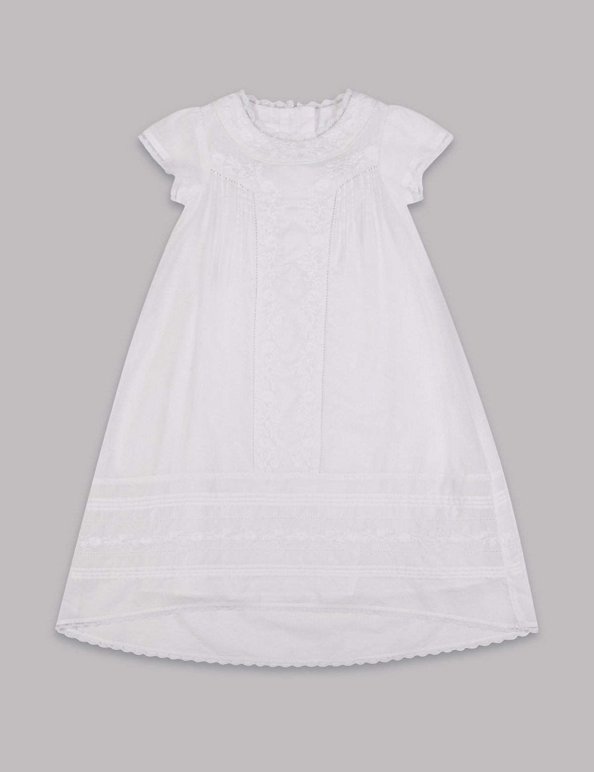 Autograph Pure Cotton Embroidered Christening Baby Dress