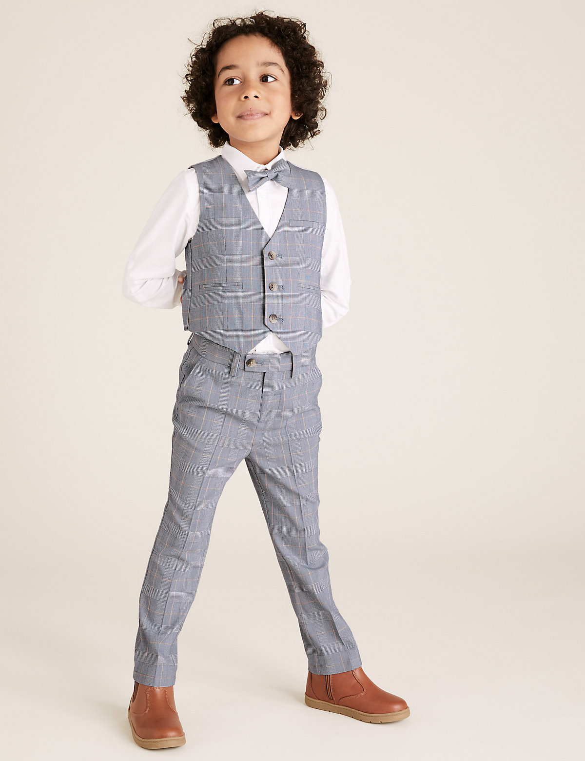 4 Piece Checked Suit Outfit (2-7 Yrs)