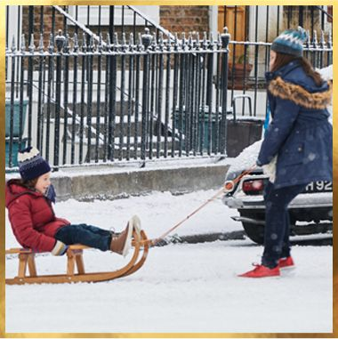 Children playing on a sledge