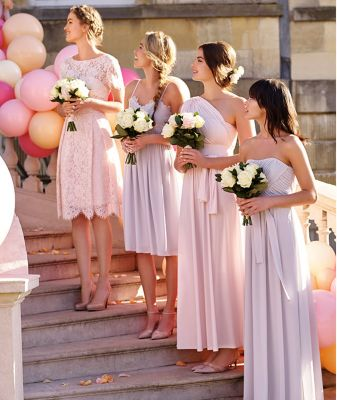 Pink and Grey Bridesmaid Dresses