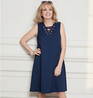 Twiggy wearing a dress from her new collection for M&S